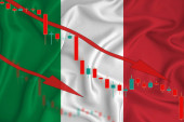 Italy Afghan flag, the fall of the currency against the background of the flag and stock price fluctuations. Crisis concept with falling stock prices of companies.