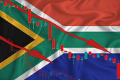 South Africa, Afghan flag, the fall of the currency against the background of the flag and stock price fluctuations. Crisis concept with falling stock prices of companies.