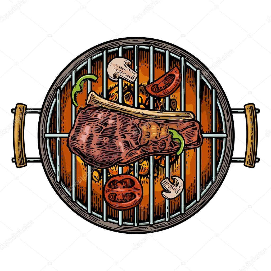 Barbecue grill top view with charcoal, mushroom, tomato ...