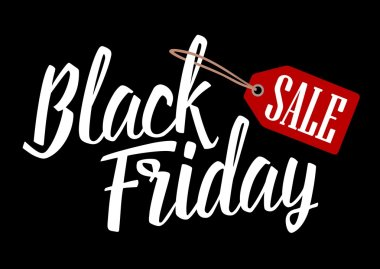 Lettered text Black Friday with hanging sale tag.