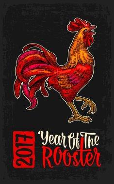Red fiery rooster. Vintage black vector engraving illustration