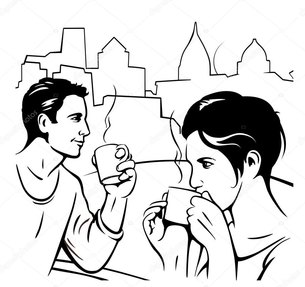 Imágenes Personas Tomando Cafe Para Colorear Hombre Y La Mujer