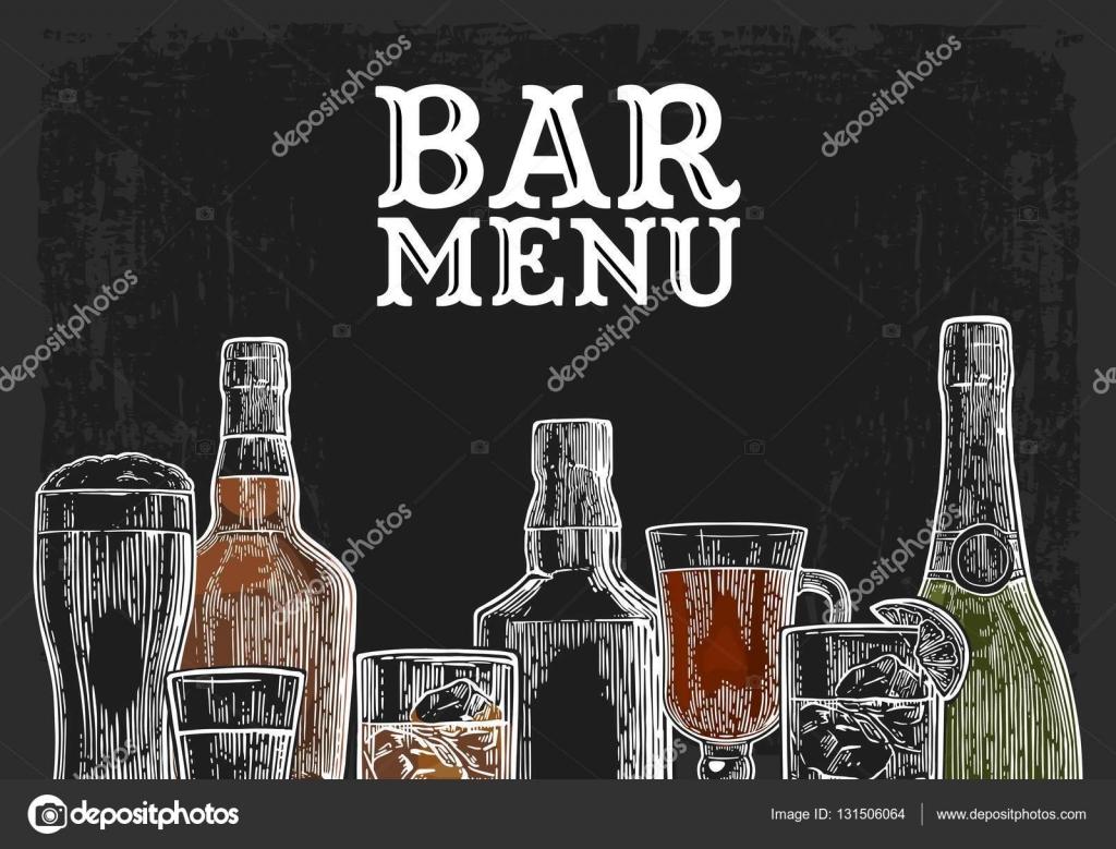 Vorlage für Bar Menü Alkohol trinken — Stockvektor © DenisPotysiev ...