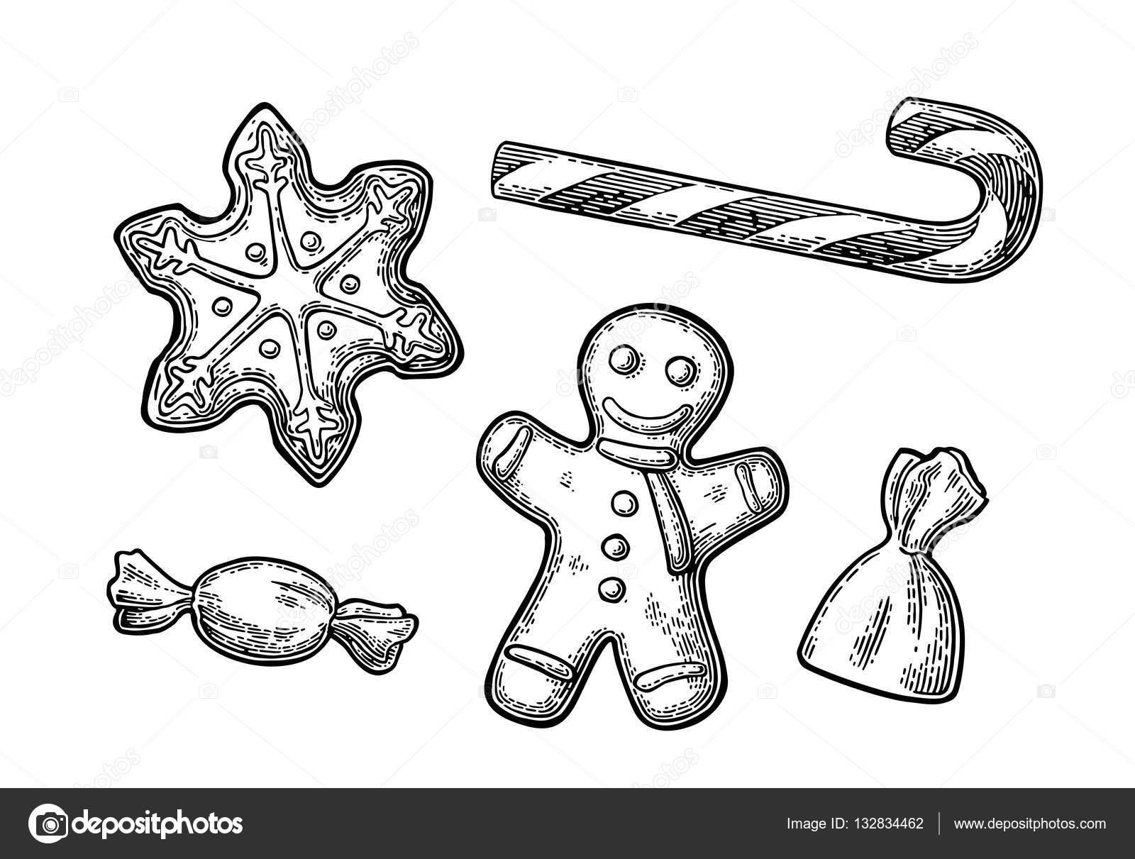 Hombre de jengibre, estrella, dulce Caña — Vector de stock ...