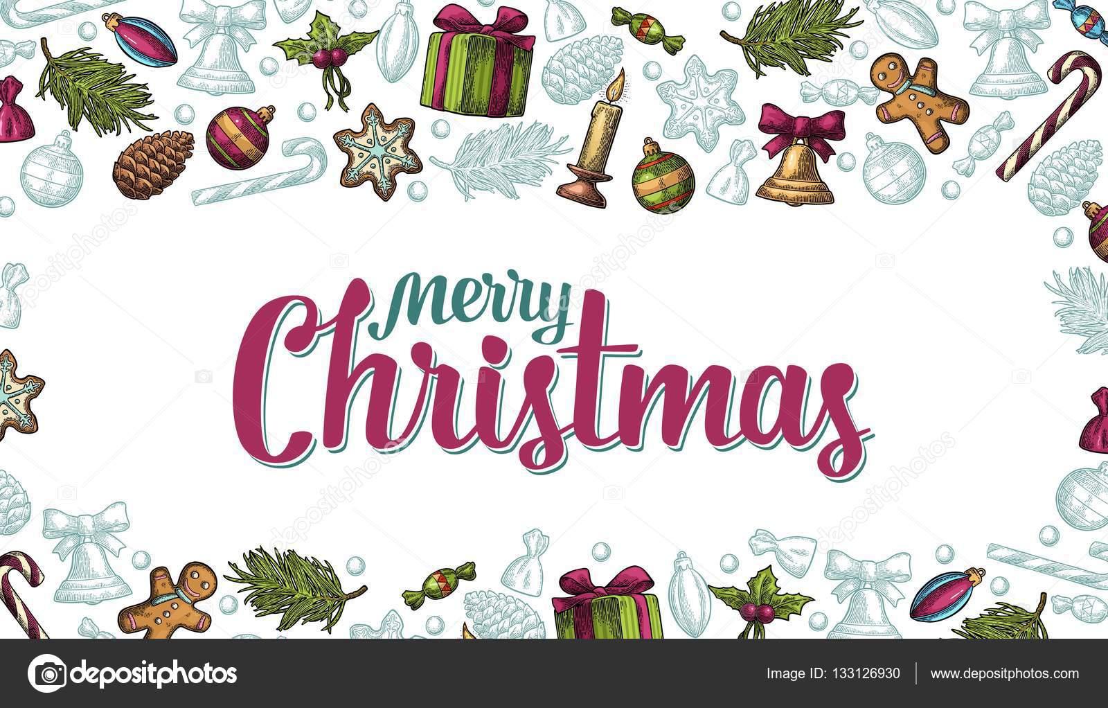 Vorlage für Merry Christmas, Happy New Year-Grußkarte — Stockvektor ...