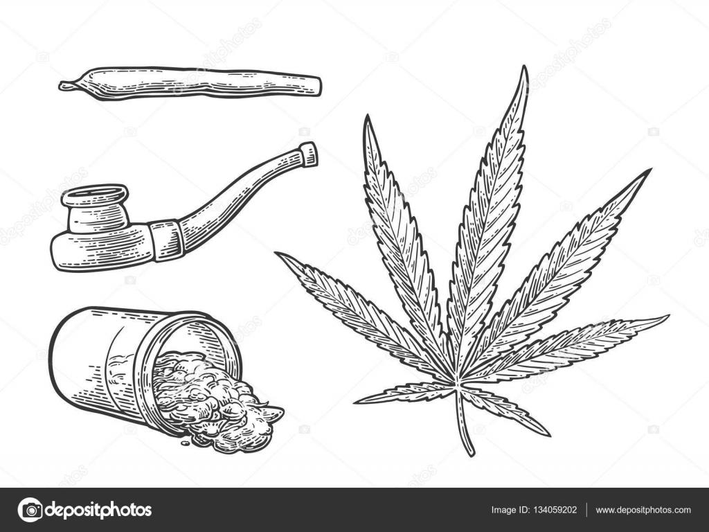 Hoja De Marihuana, Botella, Cigarrillos Y Pipa Para Fumar