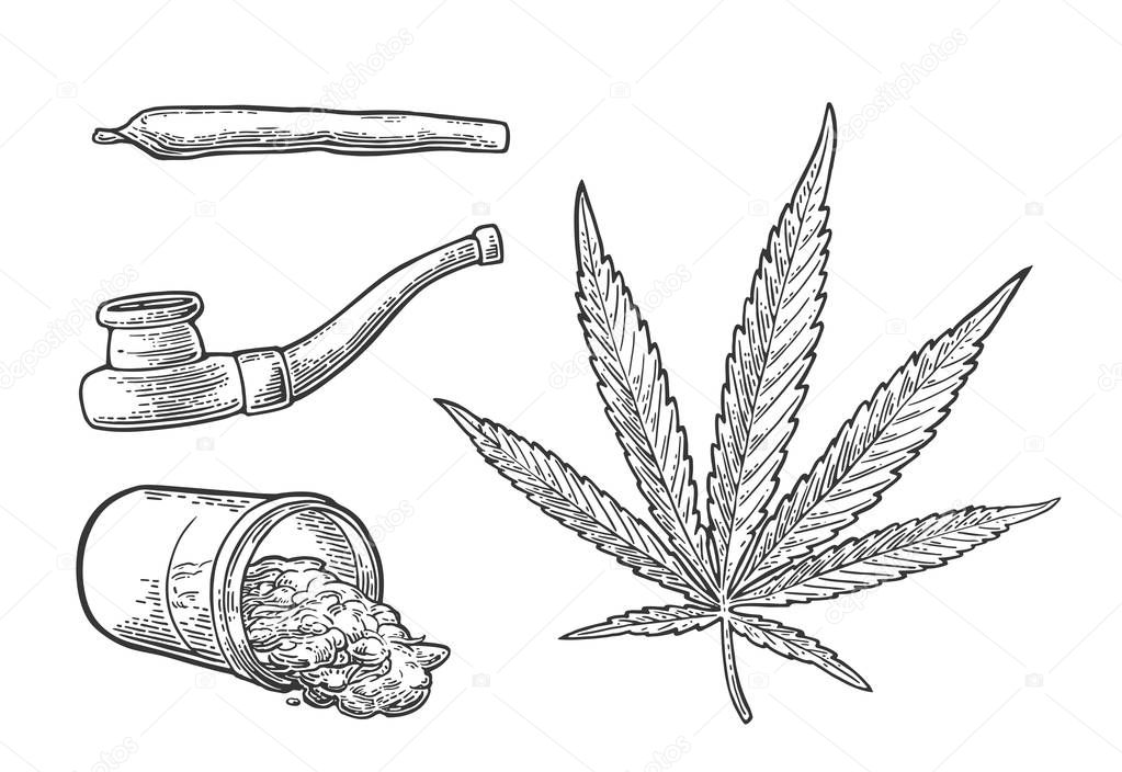 Marijuana leaf, bottle, cigarettes and pipe for smoking.