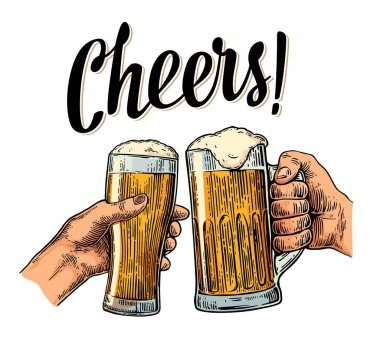 Female and male hands holding and clinking with two glasses beer