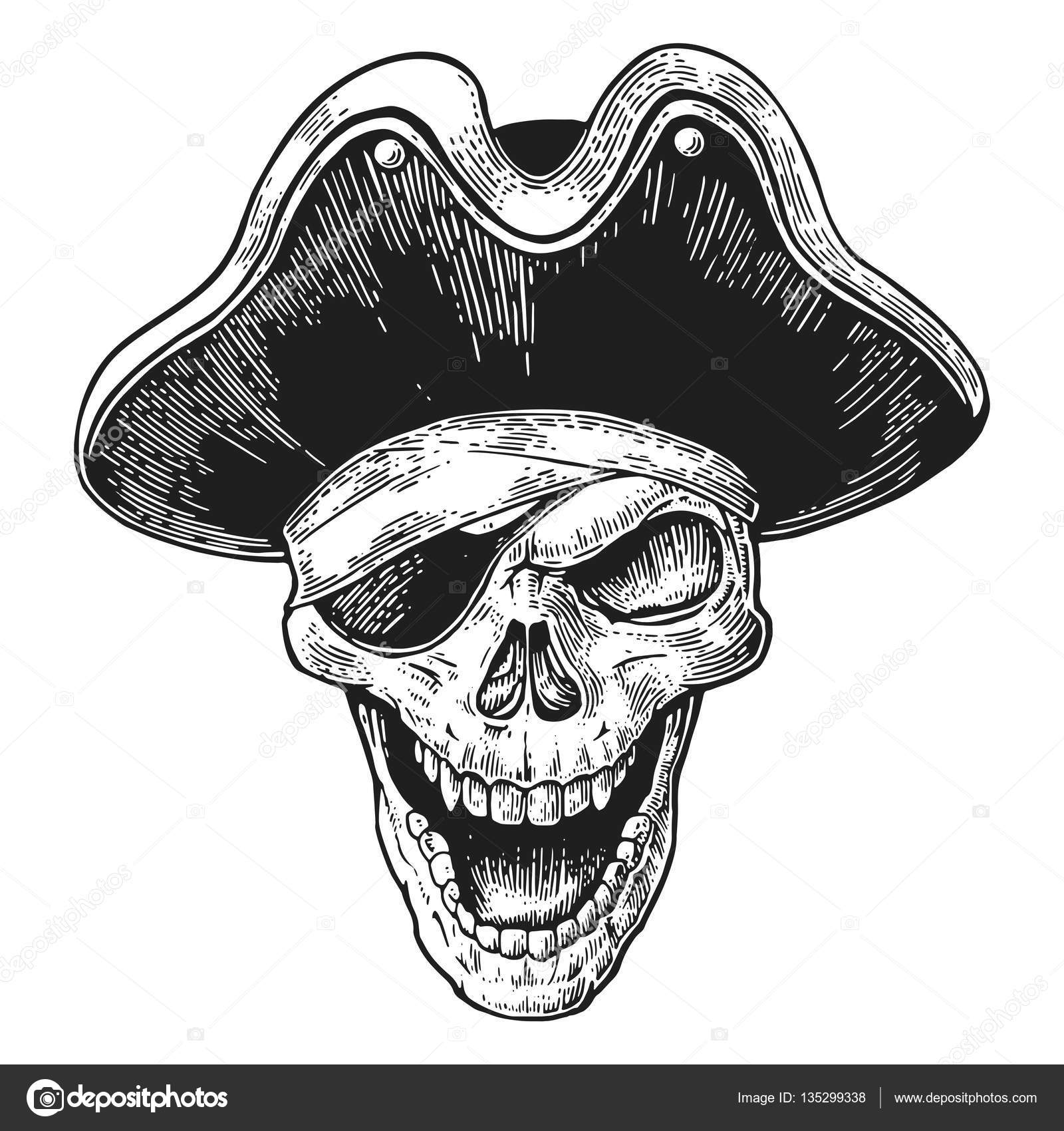 skull in pirate clothes eye patch and hat smiling black. Black Bedroom Furniture Sets. Home Design Ideas