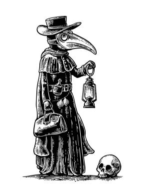 Plague, doctor with bird mask,suitcase, lantern, garlic and hat. Engraving