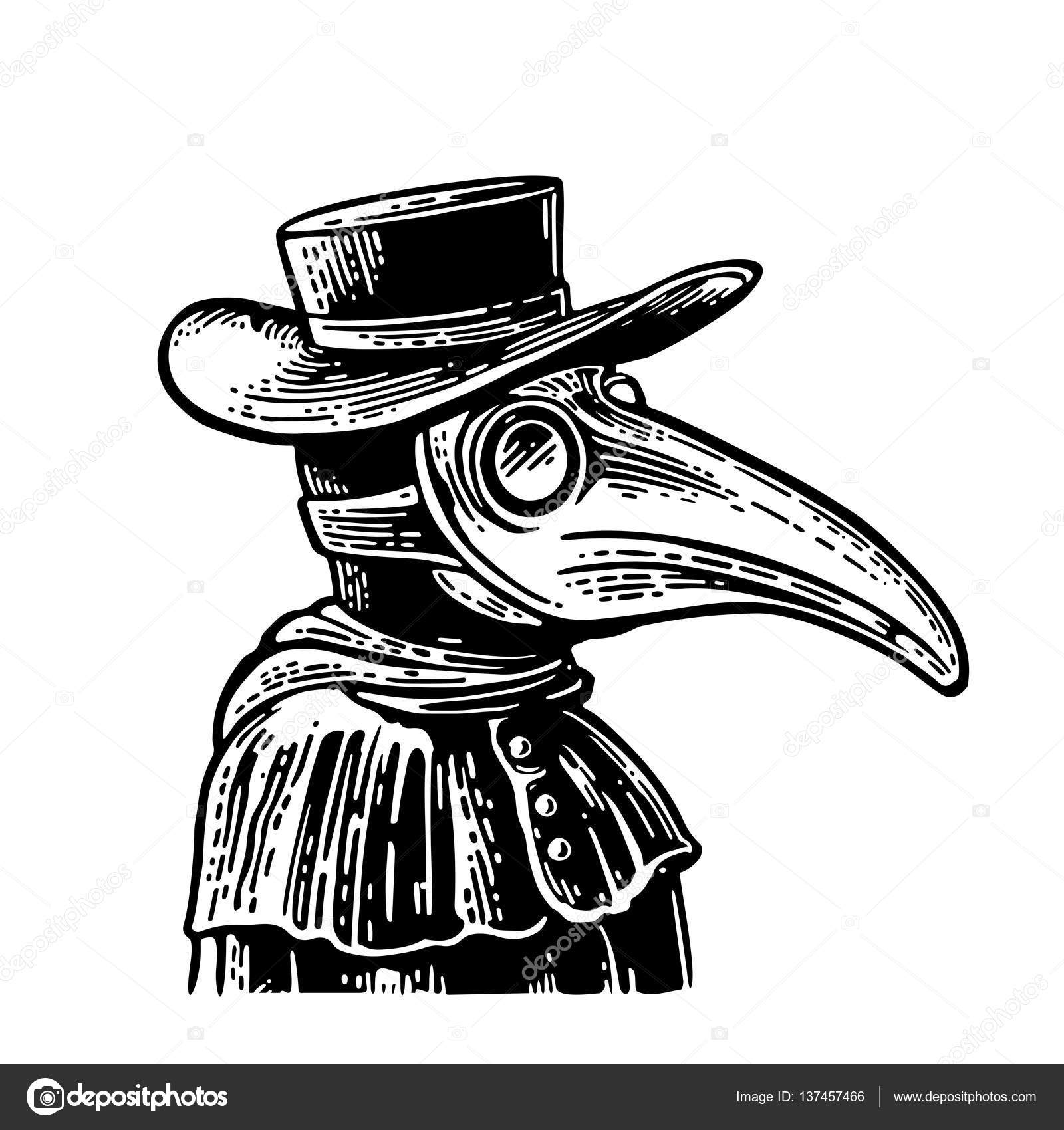 Plague doctor with bird mask and hat. Vector vintage engraving ...