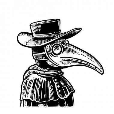 Plague doctor with bird mask and hat. Vector vintage engraving