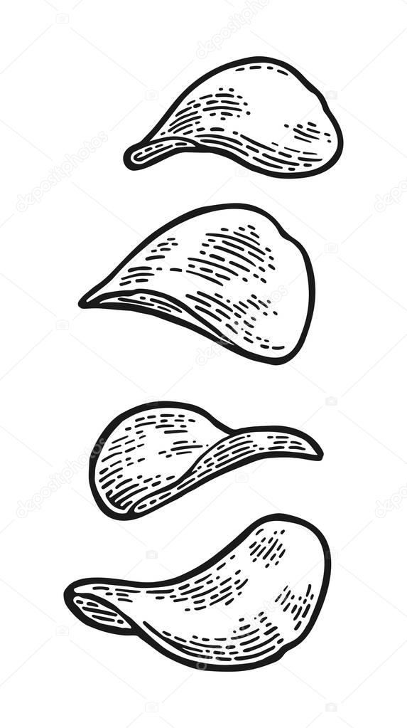 Potato chips. Vector engraving vintage