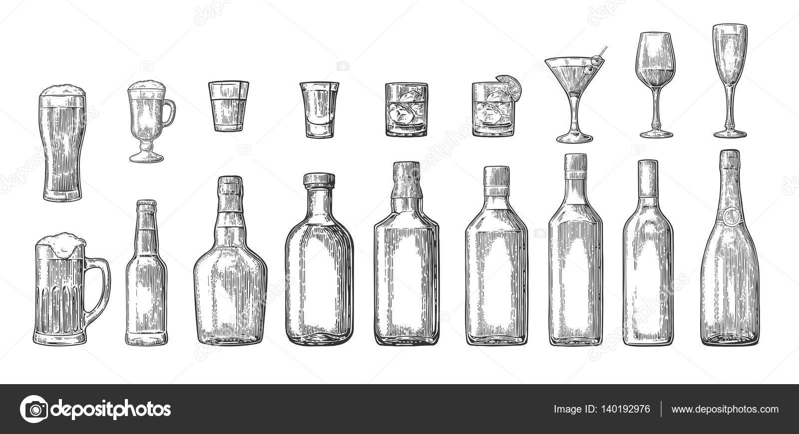 Set Glass And Bottle Beer Whiskey Wine Gin Rum Tequila Cognac Champagne Cocktail Grog Vector Engraved Black Vintage Illustration Isolated On White