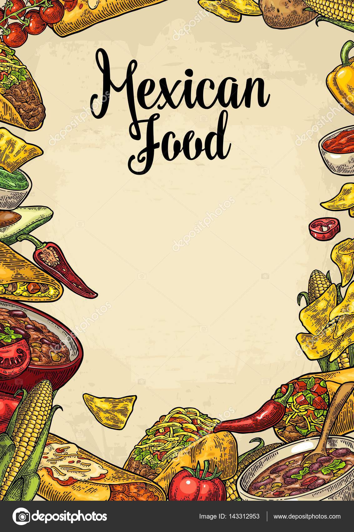 Mexican traditional food restaurant menu template with ingredient ...
