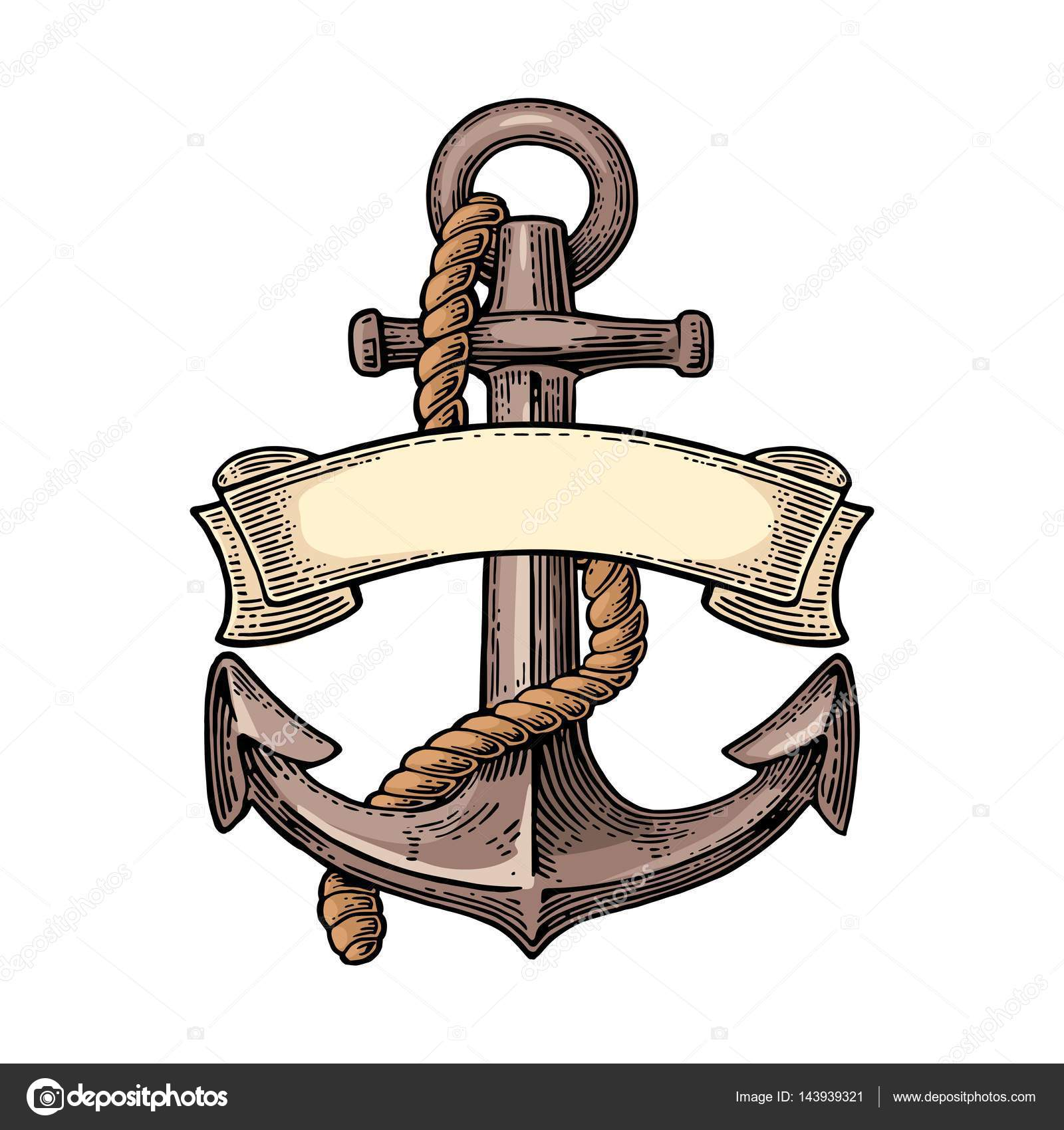 Anchor With Ribbon And Rope Isolated On White Background Vector Vintage Color Engraving Illustration For Tattoo Web Label