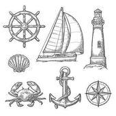 Fotografie Kotvy, kolo, loď, růžici kompasu, shell, krab, maják gravírování
