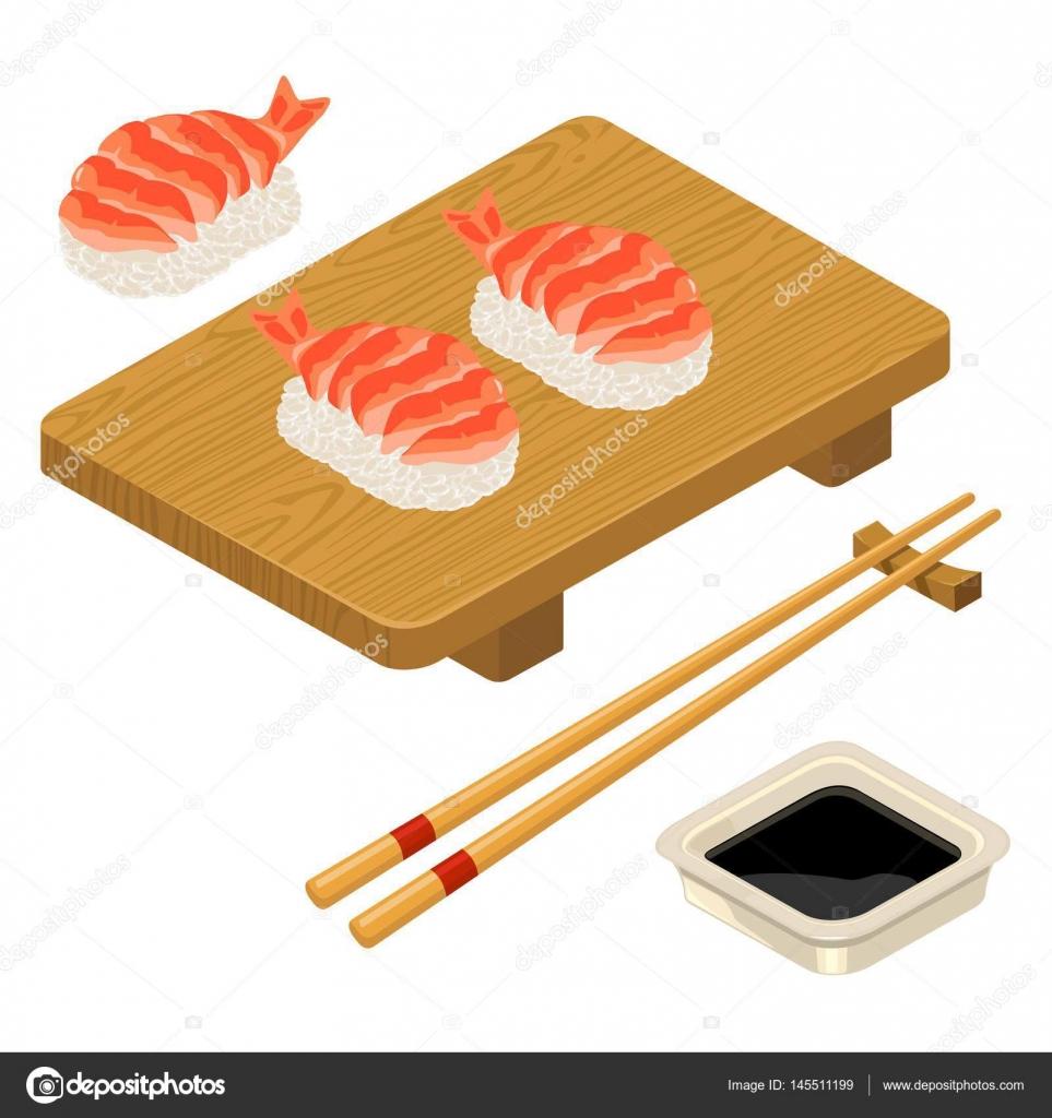 エビ箸醤油ボードと握り寿司 ストックベクター Denispotysiev
