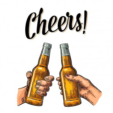 Female and male hands holding and clinking open beer bottles. Cheers toast lettering. Vintage vector color engraving illustration for web, poster, invitation to party. Isolated on white background. clip art vector