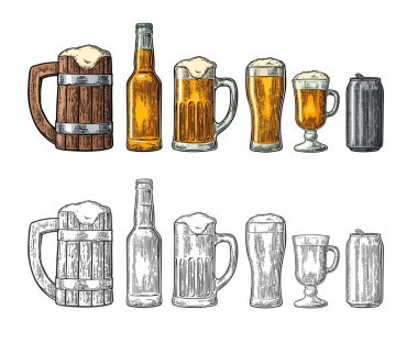 Beer set with wood mug, glass, metallic can, bottle. Engraving