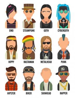 Set icon different subcultures people. Hipster, raper, emo, rastafarian, punk, biker, goth, hippy, metalhead, steampunk, skinhead, cybergoth.