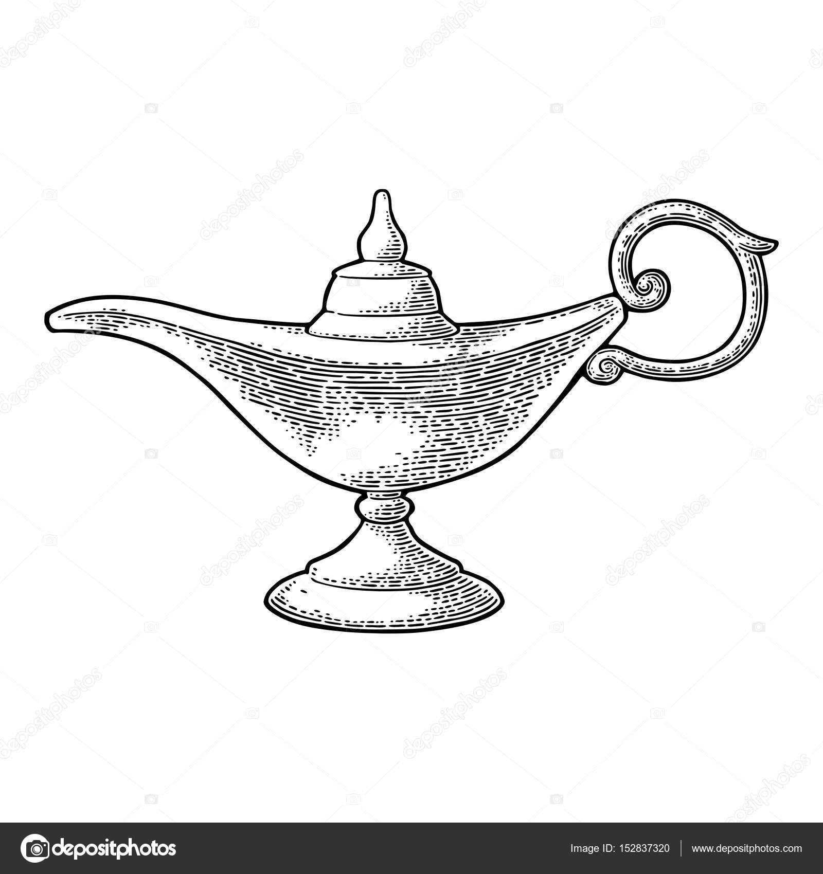 Lámpara mágica de Aladdin de metal. Grabado vintage Vector negro ...