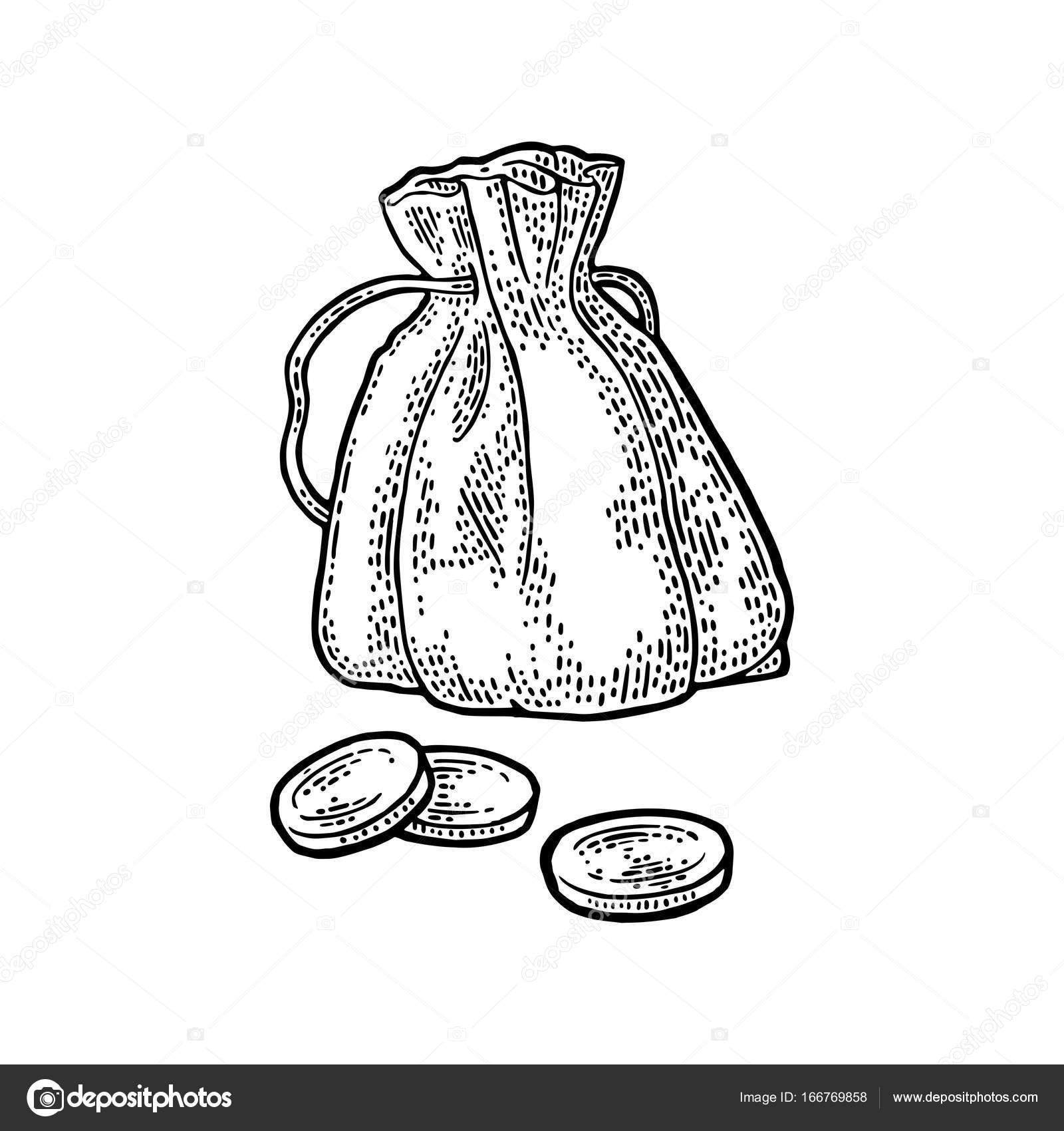 Altes Geldbeutel Mit Münzen Vintage Schwarze Vektor Gravur