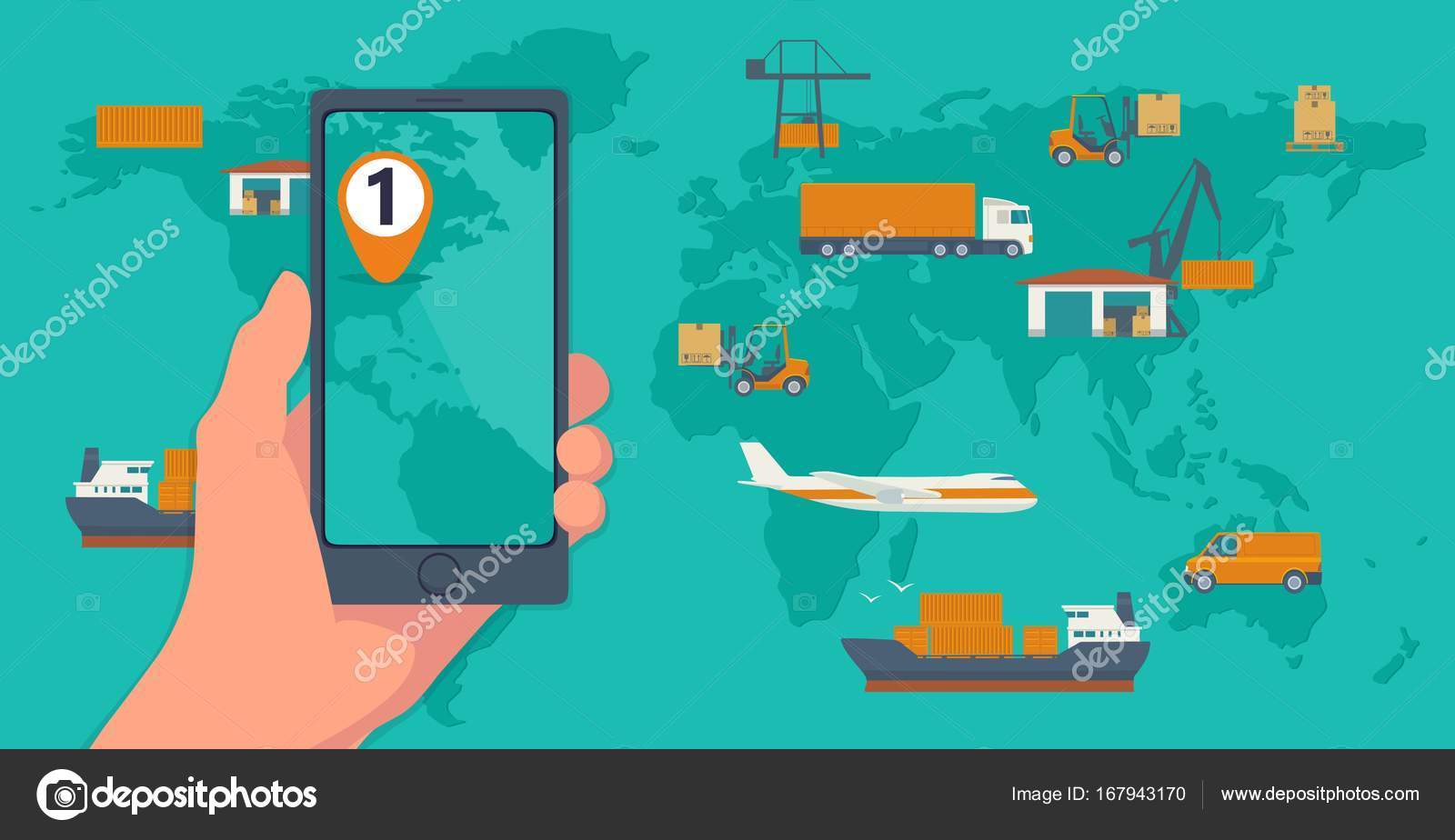 Phone with interface mobile app for cargo service on a screen phone with interface mobile app for cargo service on a screen logistic concept flat banner production process from factory to the shop top view world map gumiabroncs Gallery