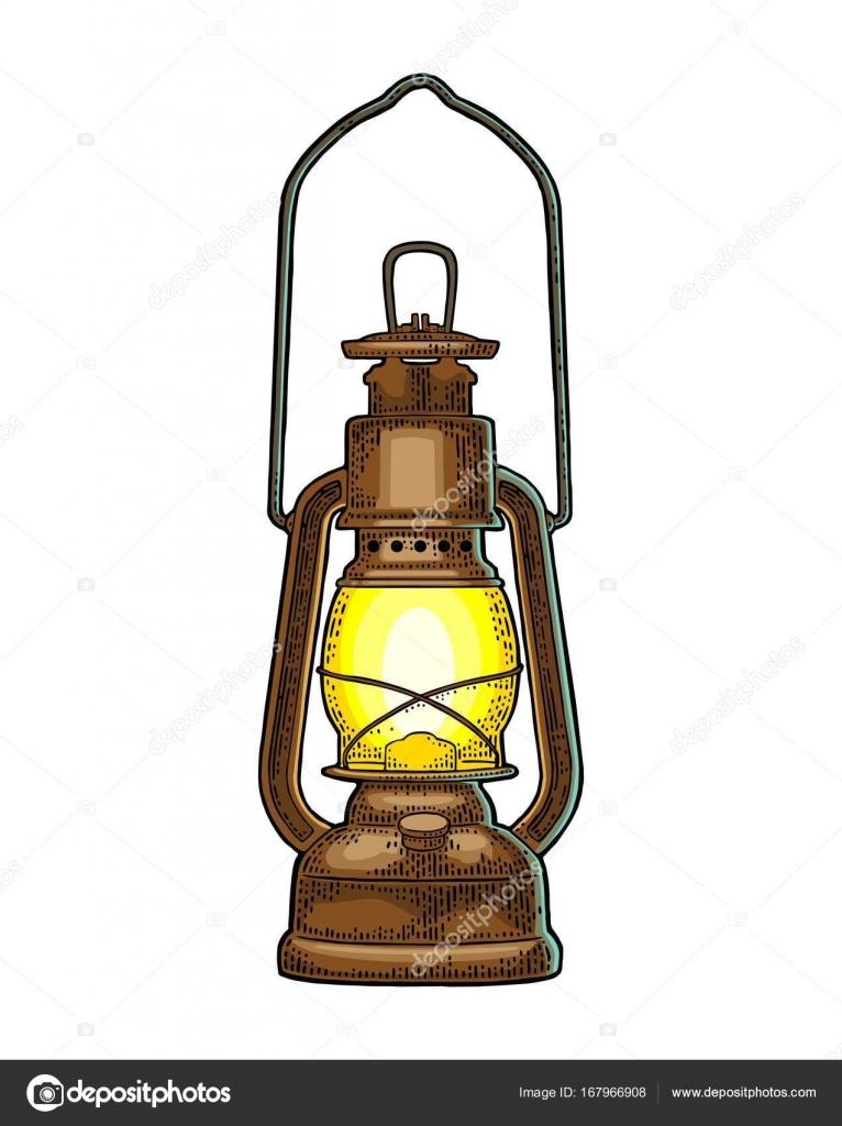 アンティーク レトロなガス灯ビンテージ カラー彫刻イラスト