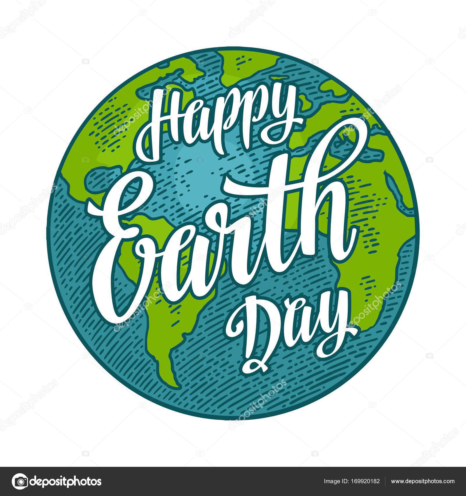 Happy Earth Day Images planet. happy earth day lettering. vector color vintage engraving