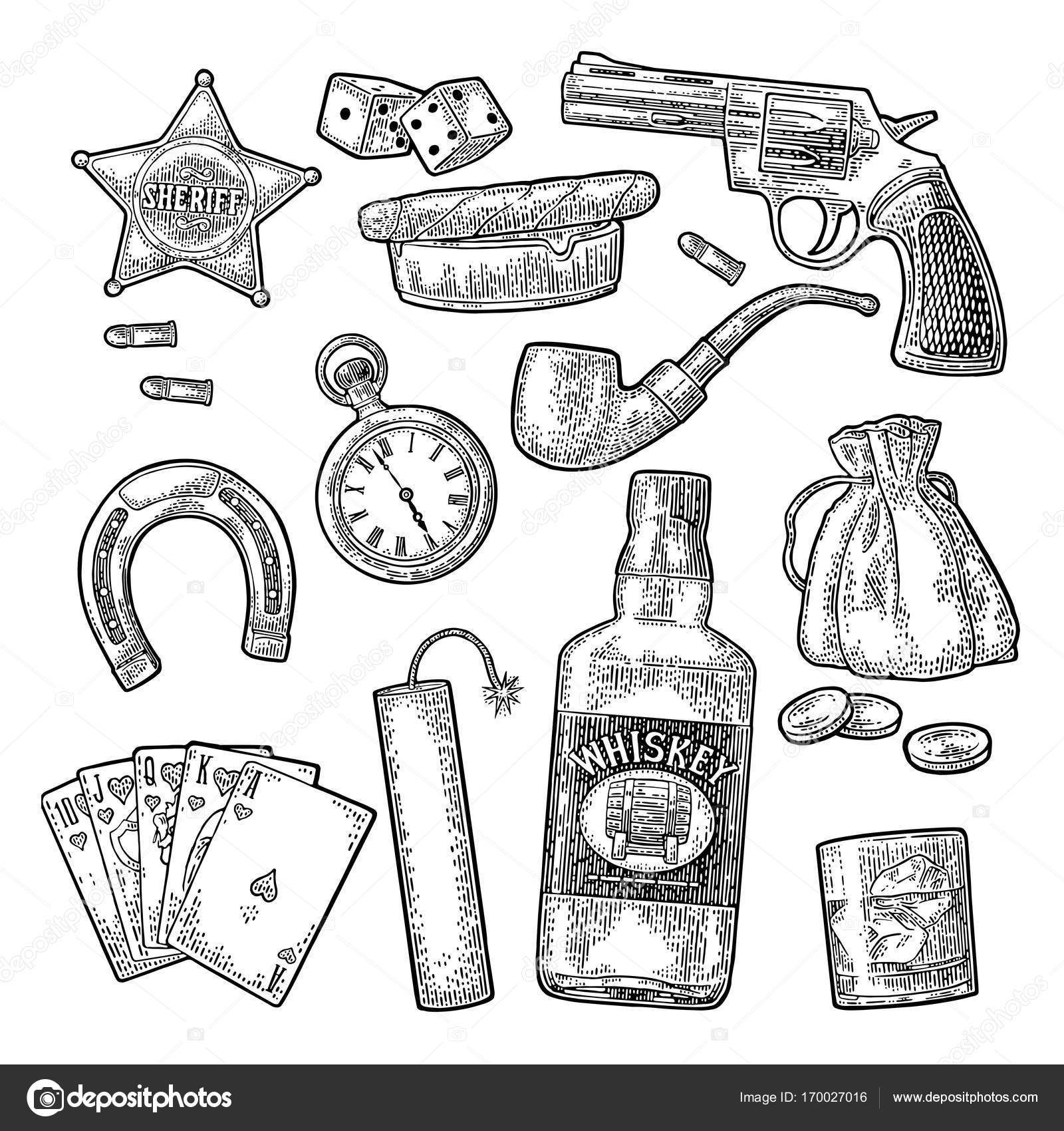 Set with wild west and casino symbols vector vintage engraving set with wild west and casino symbols vector vintage engraving stock vector biocorpaavc Gallery