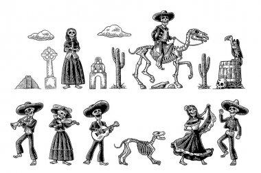 Dia de los Muertos. The skeleton in Mexican national costumes