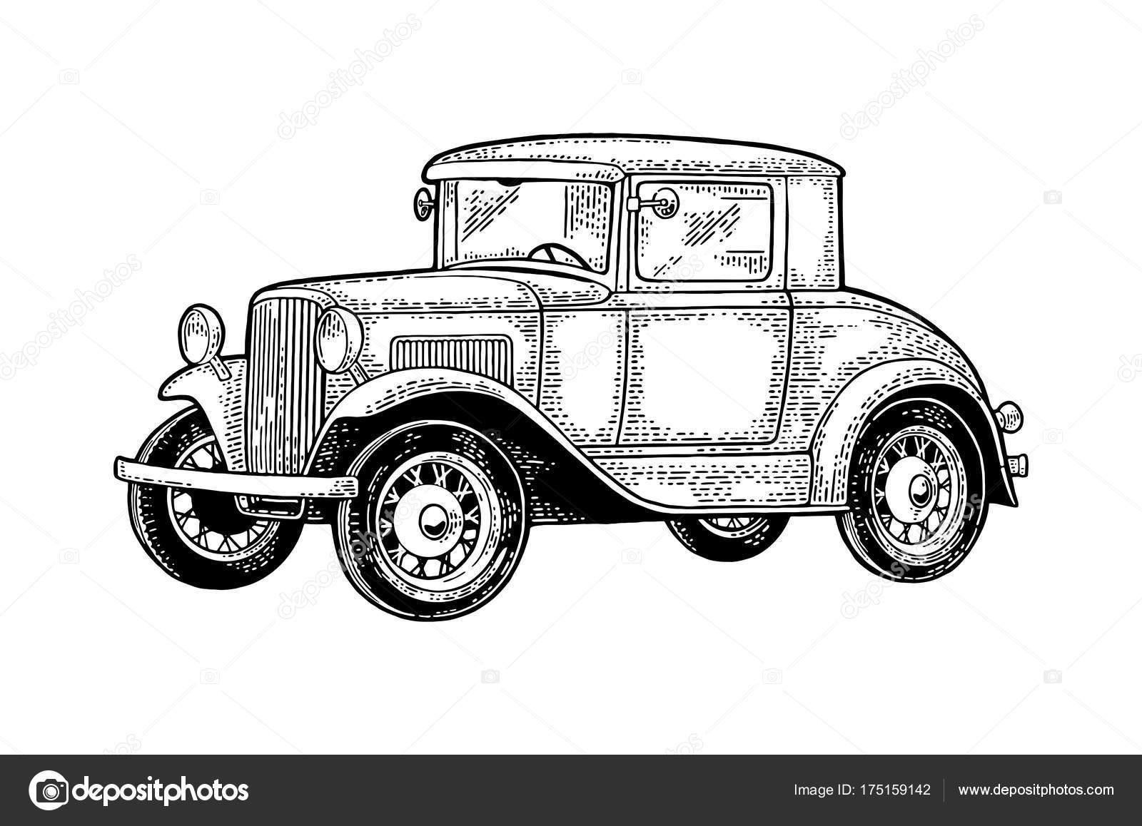 Retro-Auto Coupé. Seitenansicht. Vintage schwarze Gravur ...