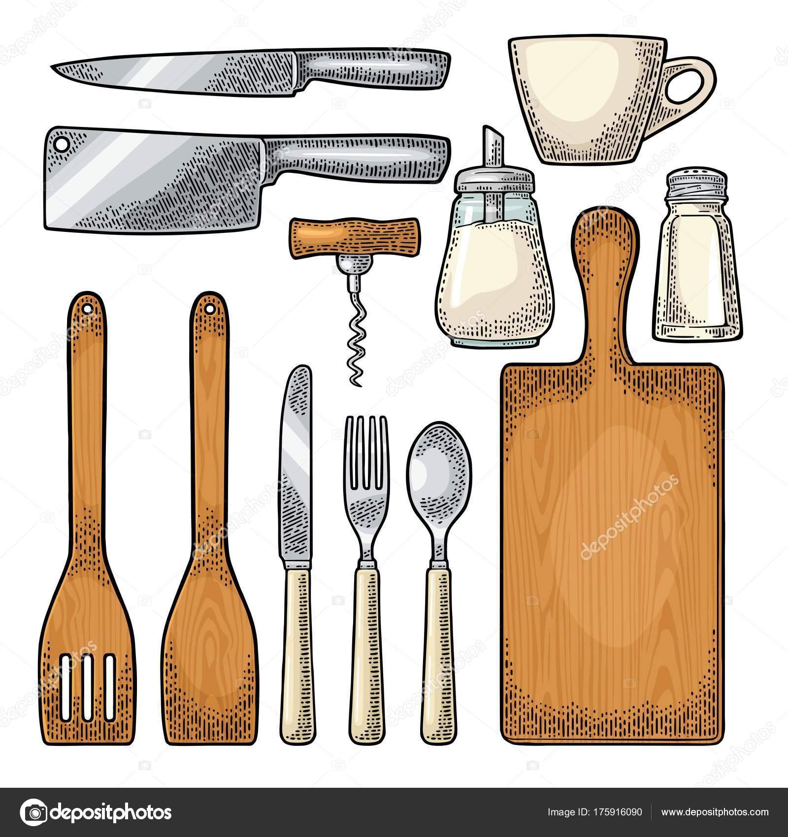 Legen Sie Küchenutensilien. Vektor-Vintage-Gravur