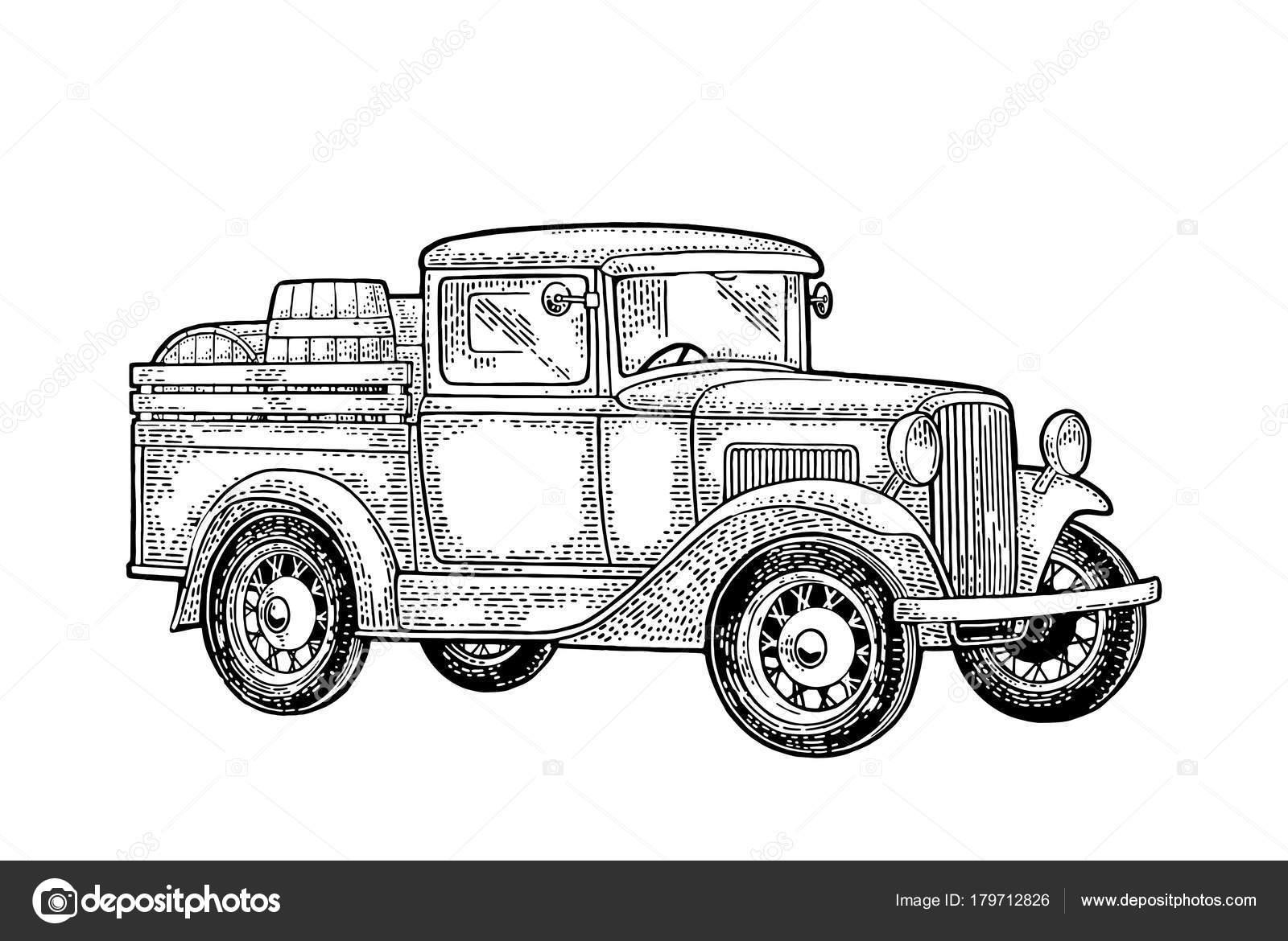 Retro Pickup Truck With Wood Barrel Side View Vintage Black Engraving Stock Vector C Denispotysiev 179712826