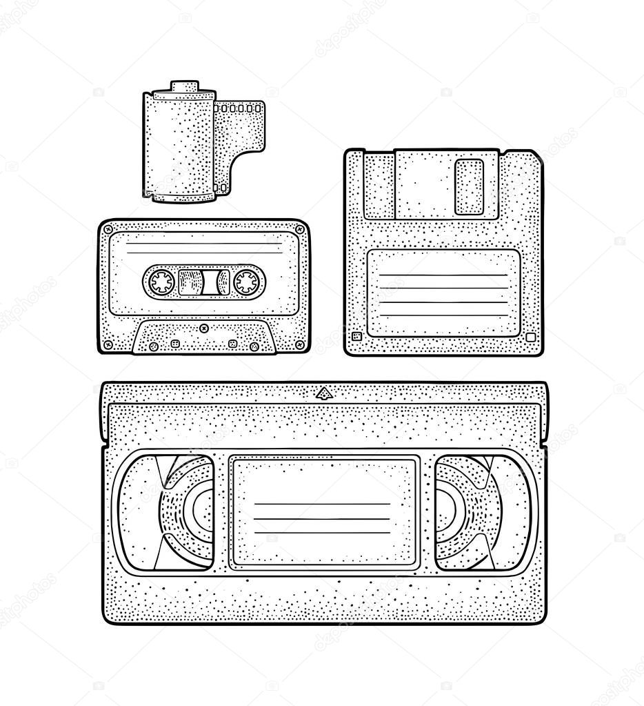 Set retro technology object. Vintage vector black engraving illustration