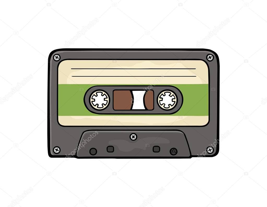 Retro audio cassette. Vector black flat illustration