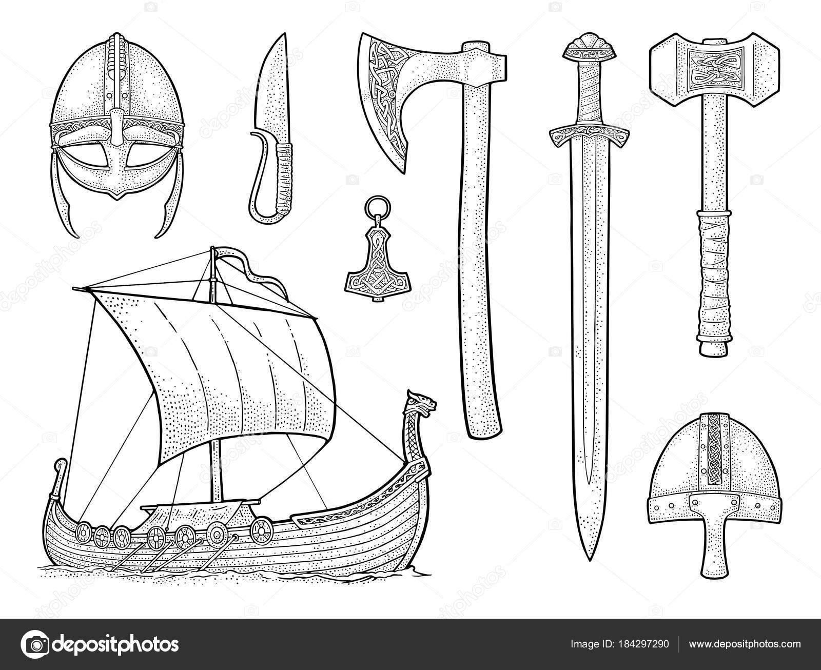 Dibujos Para Colorear Del Martillo De Thor Set De Viking
