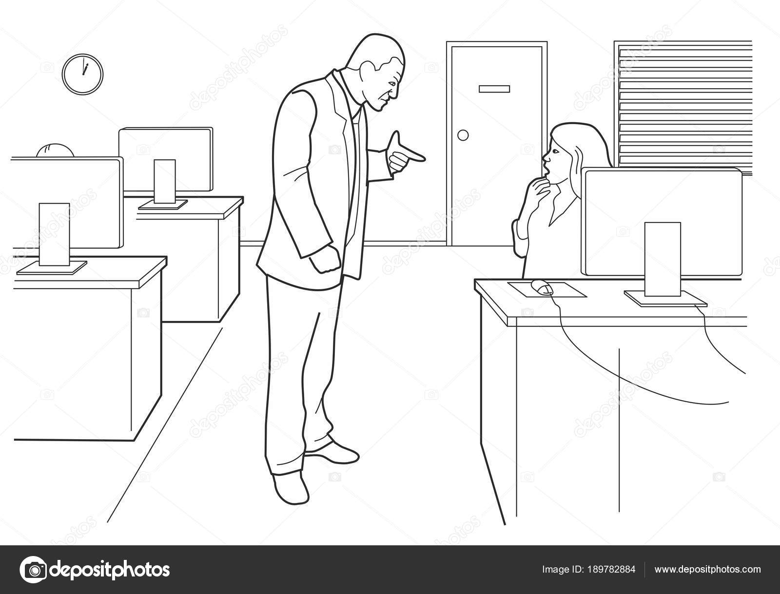 boss angry and woman afraid in open office black vector illustration isolated on white background vector by denispotysiev