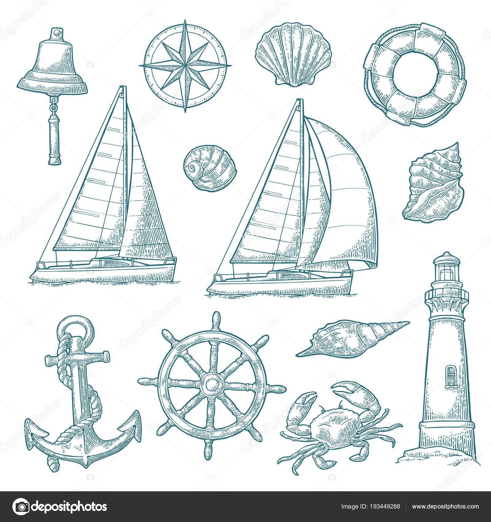 Ancla, rueda, velero, rosa de los vientos, cáscara, cangrejo ...