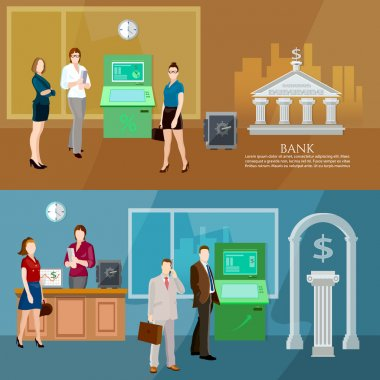 Interior bank business people bank banner