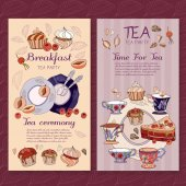 Fotografia Tempo di pacchetto di tè menu design per il tè e teiera, dolci