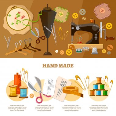 Tailor infographics hand made concept tailoring tools