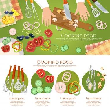 Team of chefs preparing food top view fresh vegetables