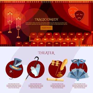 Theater infographics comedy and tragedy masks
