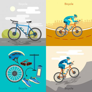 Cycling active lifestyle sport icon set bicycle riders
