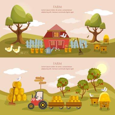 Farm agriculture banner rural landscape farmer products