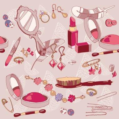 Woman fashion accessories seamless pattern