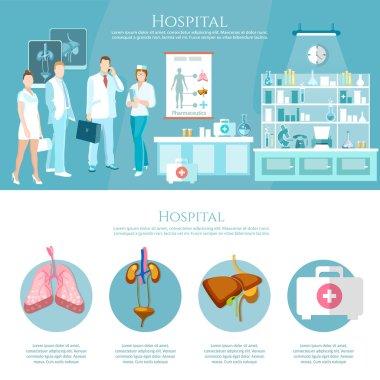 Medicine infographics hospital staff health service