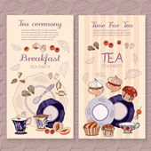 Fotografia Tempo di pacchetto di tè menu design per il tè e teiera